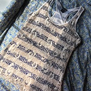 Navy blue and cream lace tank